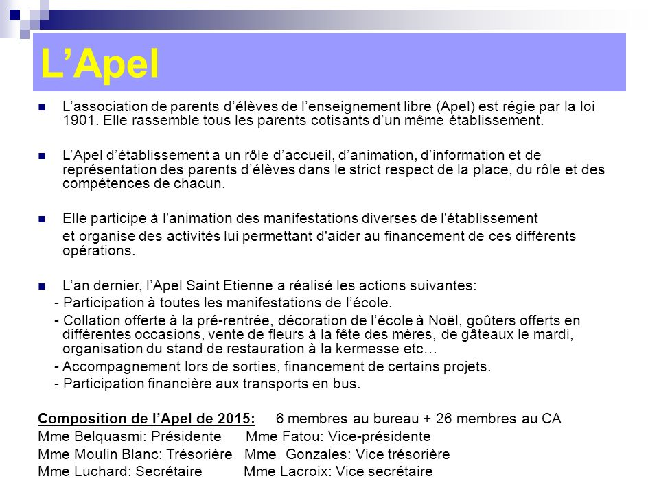 Conseil d tablissement ppt video online t l charger - Composition bureau association loi 1901 ...
