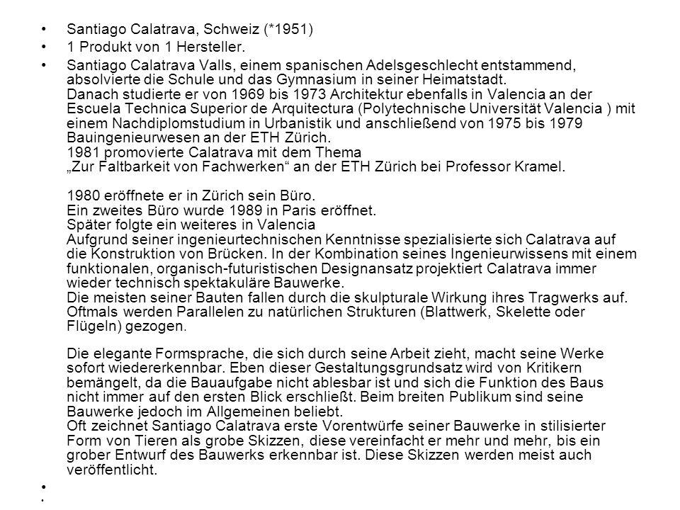 Santiago Calatrava, Schweiz (*1951)
