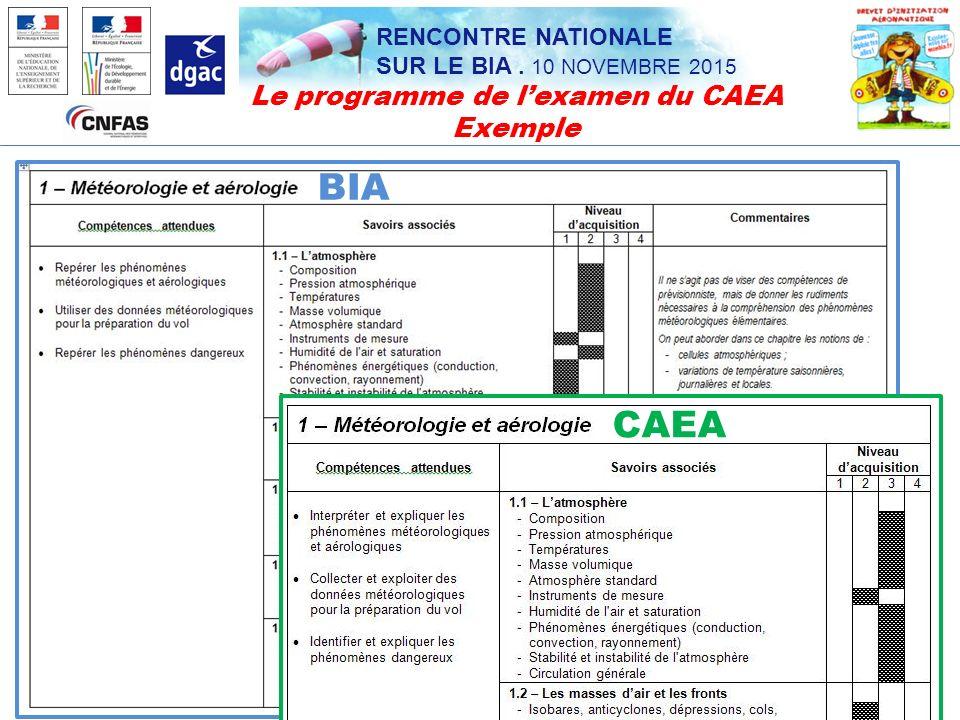 Le programme de l'examen du CAEA