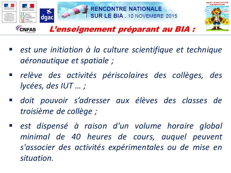 L'enseignement préparant au BIA :