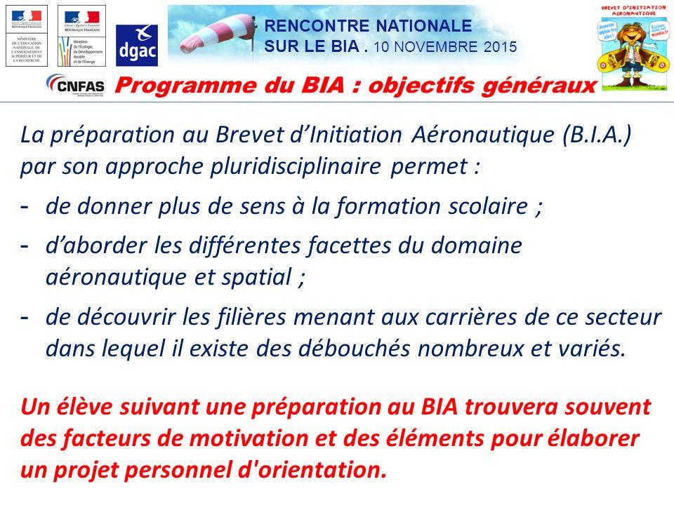 Programme du BIA : objectifs généraux