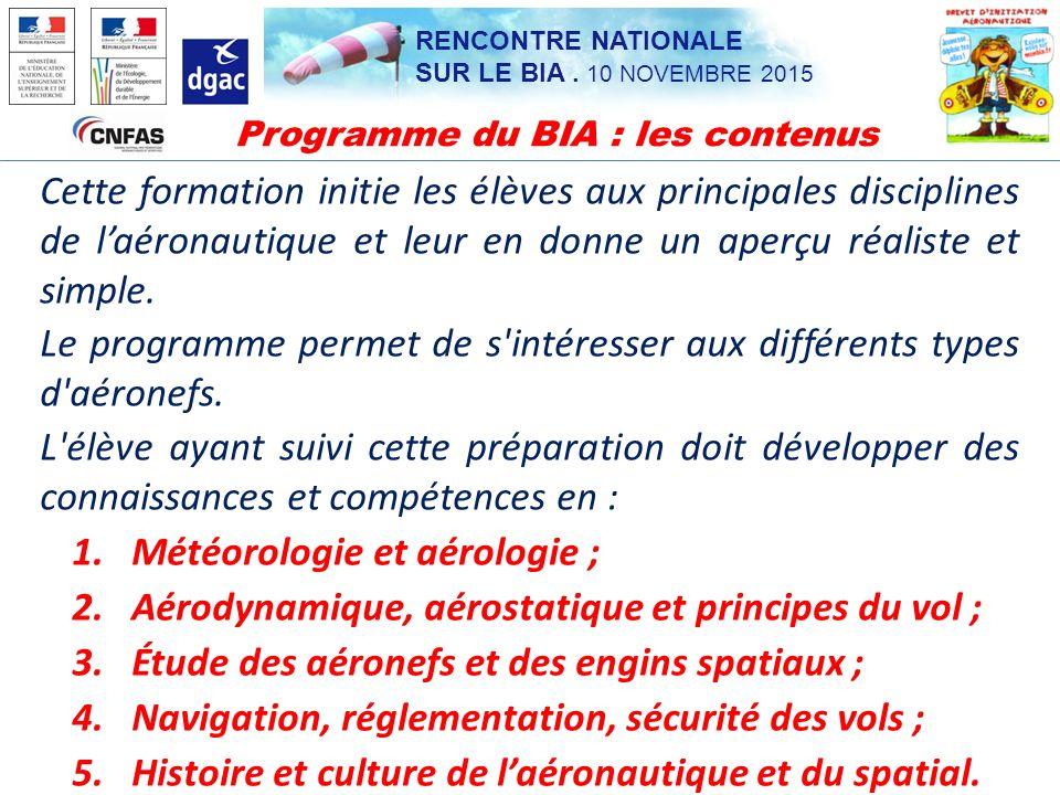Programme du BIA : les contenus
