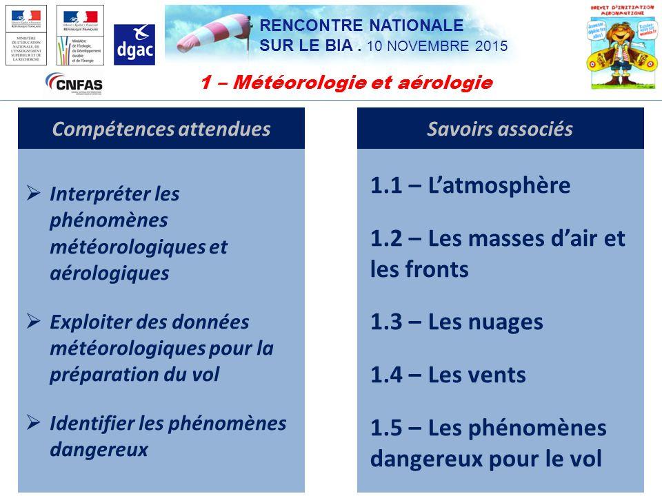 1 – Météorologie et aérologie Compétences attendues