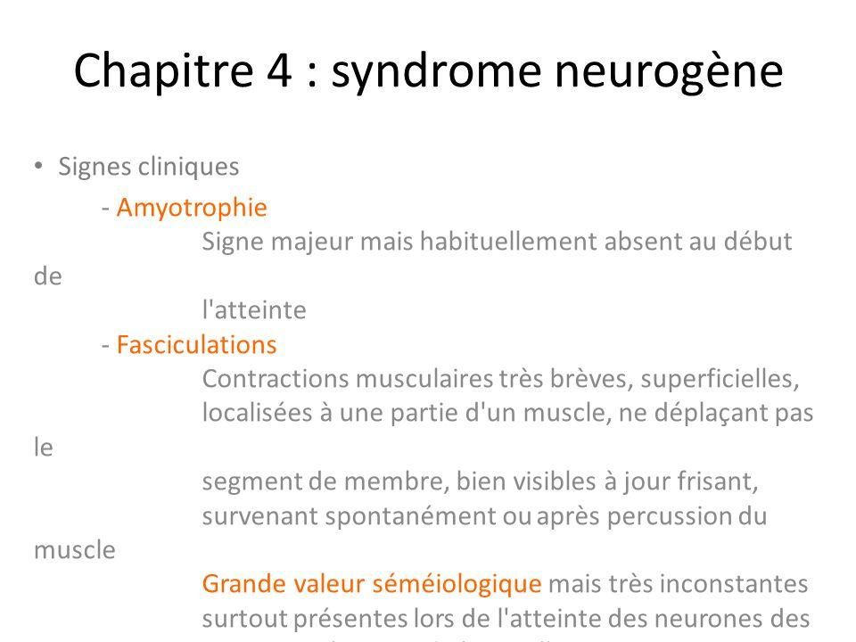 Chapitre 4 : syndrome neurogène