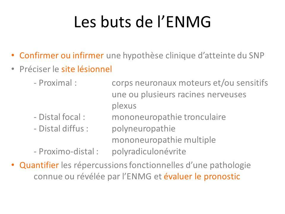 Les buts de l'ENMG Confirmer ou infirmer une hypothèse clinique d'atteinte du SNP. Préciser le site lésionnel.