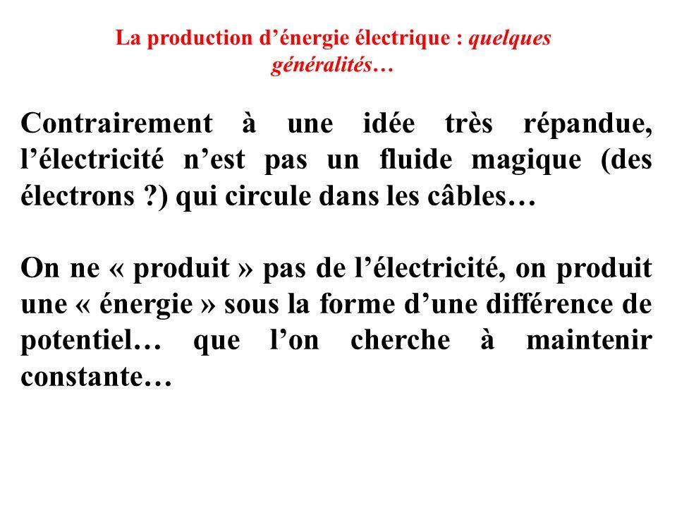 La production d'énergie électrique : quelques généralités…