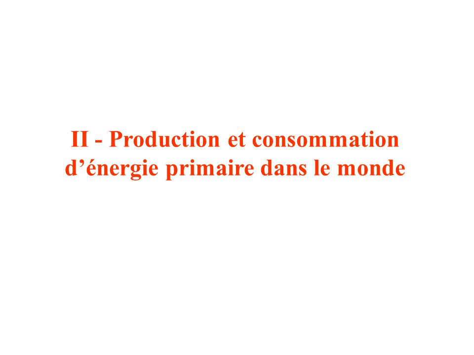 II - Production et consommation d'énergie primaire dans le monde