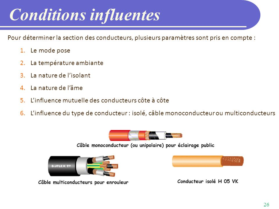 Conditions influentes