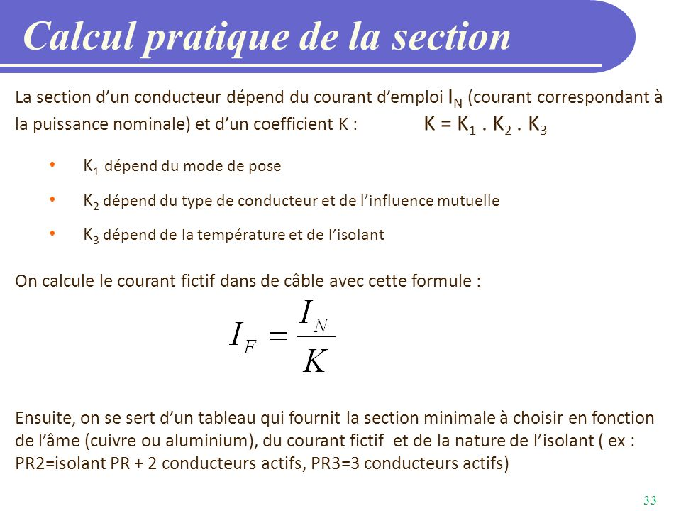 Calcul pratique de la section