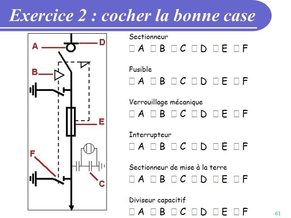 Exercice 2 : cocher la bonne case
