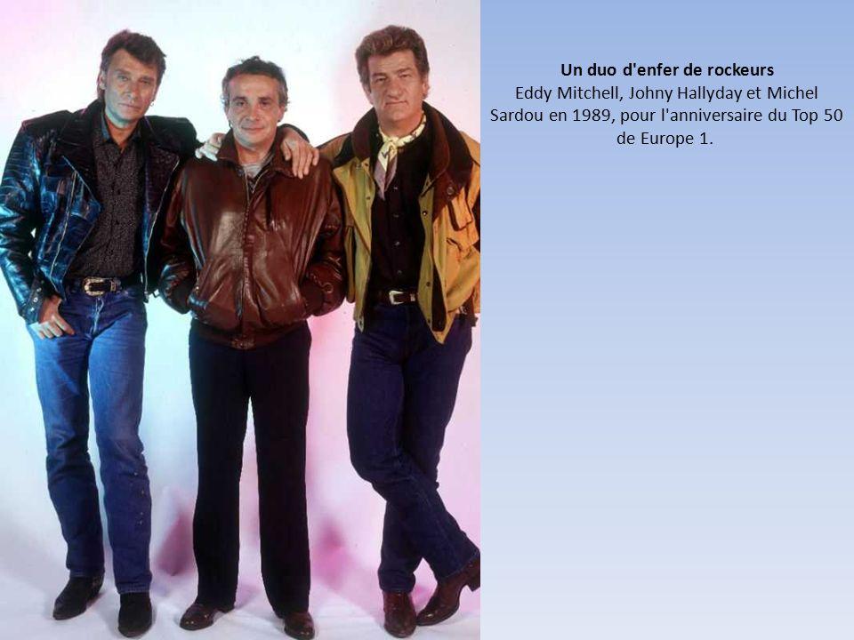 Un duo d enfer de rockeurs Eddy Mitchell, Johny Hallyday et Michel Sardou en 1989, pour l anniversaire du Top 50 de Europe 1.