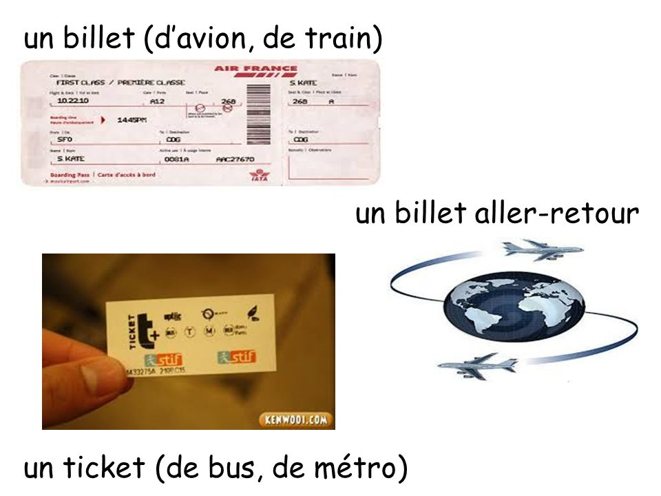 un billet (d'avion, de train)