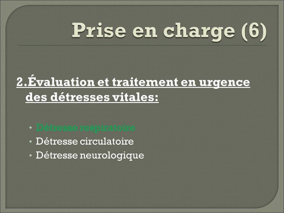 Prise en charge (6) 2.Évaluation et traitement en urgence des détresses vitales: Détresse respiratoire.