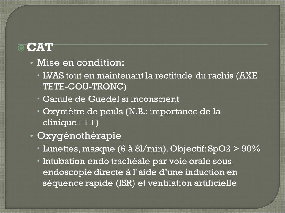 CAT Mise en condition: Oxygénothérapie