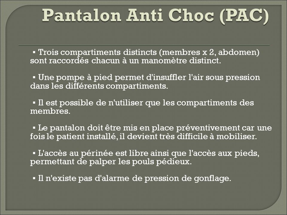 Pantalon Anti Choc (PAC)