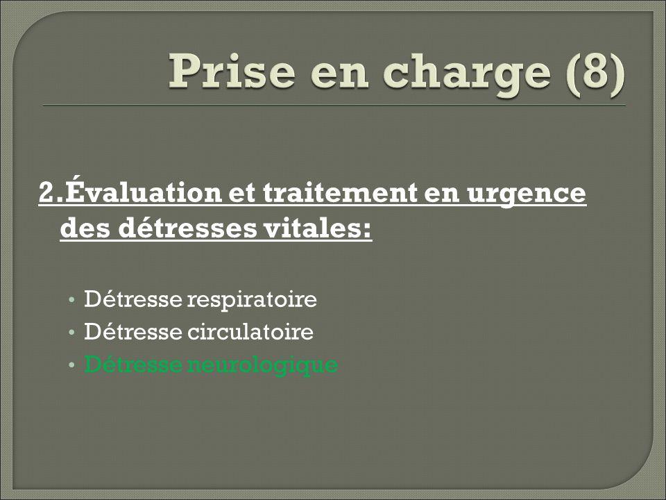 Prise en charge (8) 2.Évaluation et traitement en urgence des détresses vitales: Détresse respiratoire.