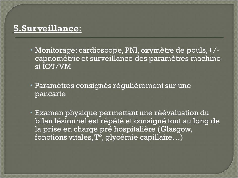 5.Surveillance: Monitorage: cardioscope, PNI, oxymètre de pouls,+/- capnométrie et surveillance des paramètres machine si IOT/VM.
