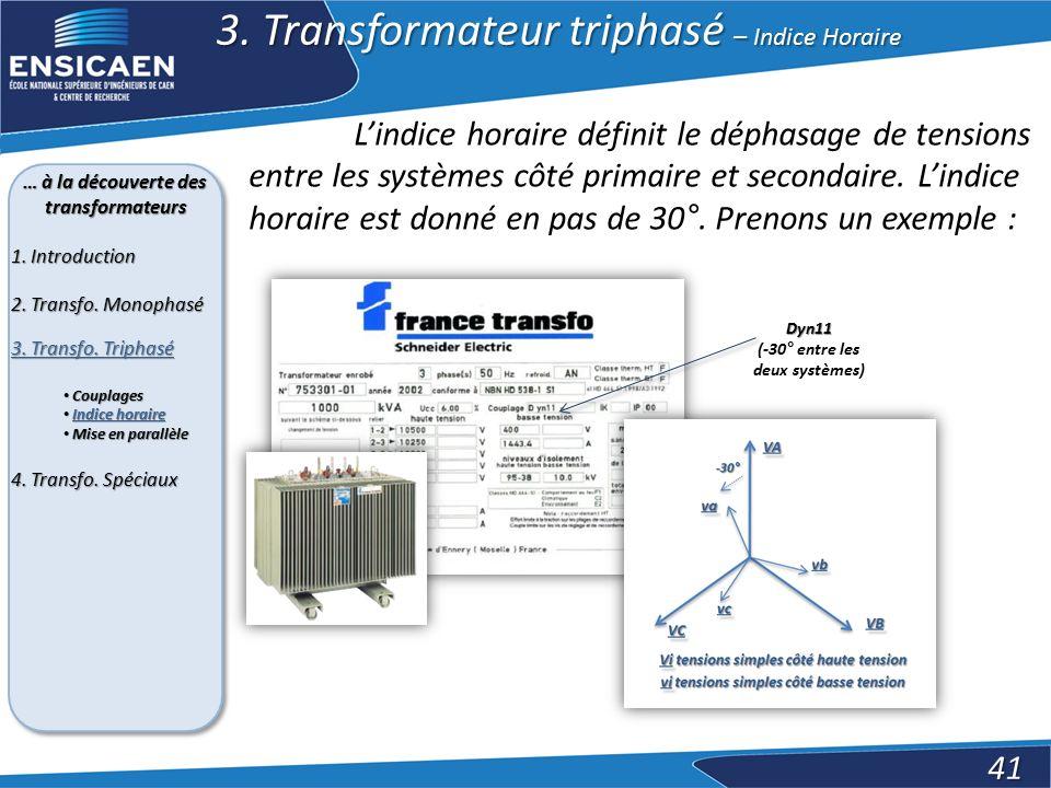 … à la découverte des transformateurs (-30° entre les deux systèmes)