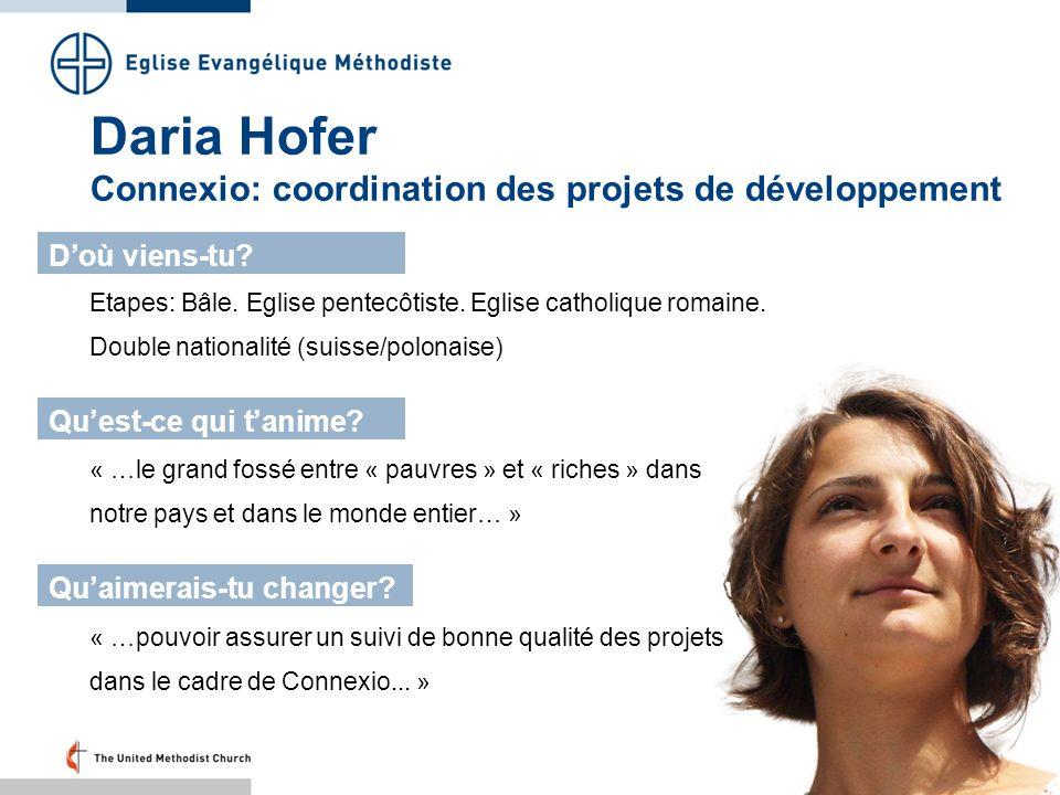 Daria Hofer Connexio: coordination des projets de développement