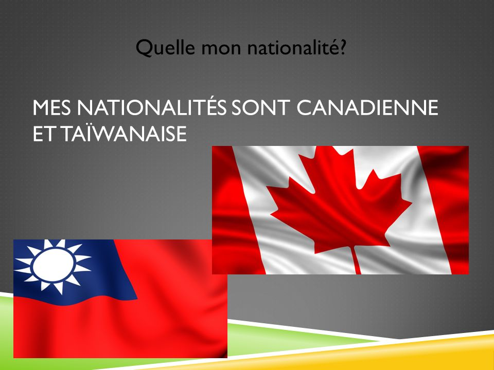 Mes nationalités sont canadienne et taïwanaise
