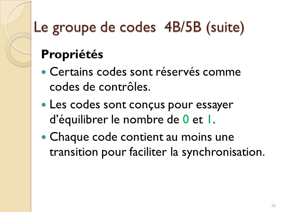 Propriétés du groupe de modules de code