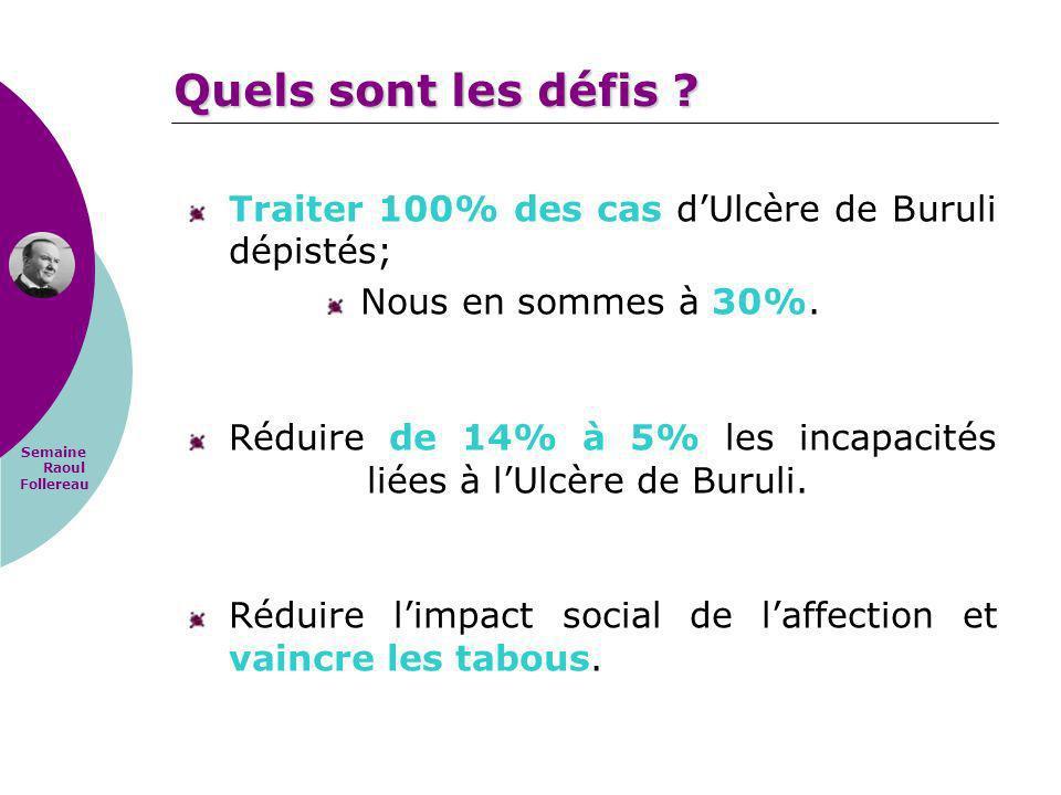 Quels sont les défis Traiter 100% des cas d'Ulcère de Buruli dépistés; Nous en sommes à 30%.