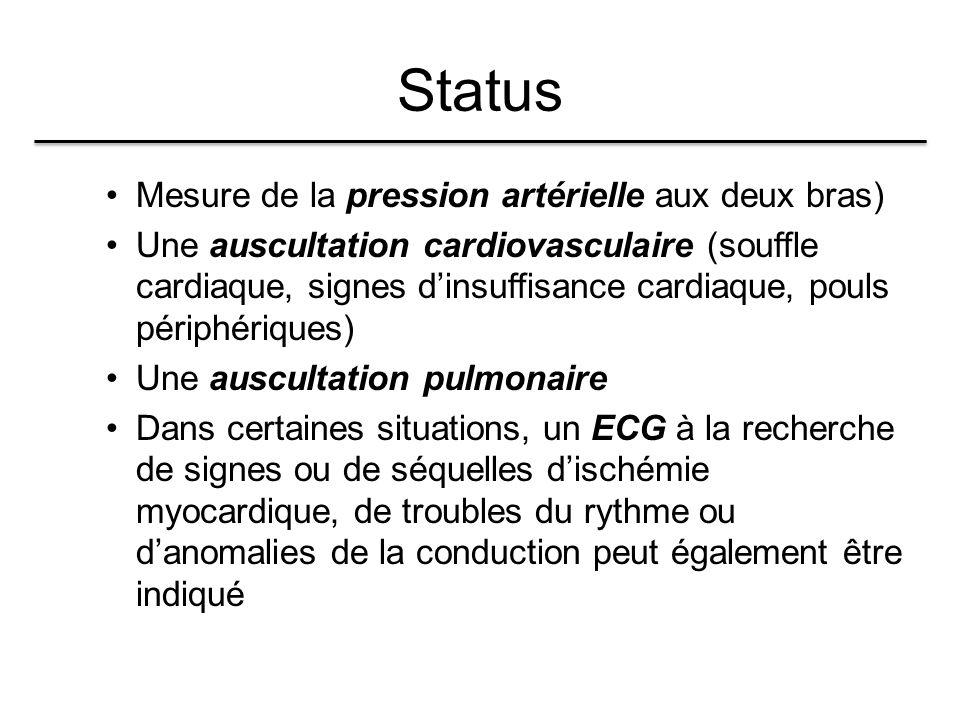 Status Mesure de la pression artérielle aux deux bras)