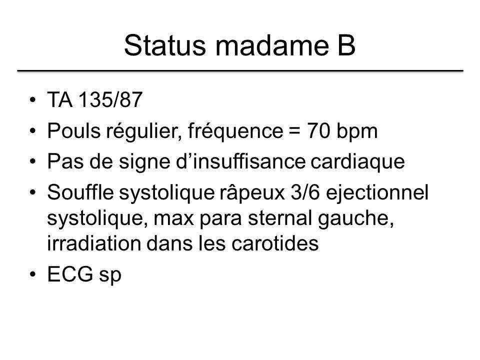 Status madame B TA 135/87 Pouls régulier, fréquence = 70 bpm