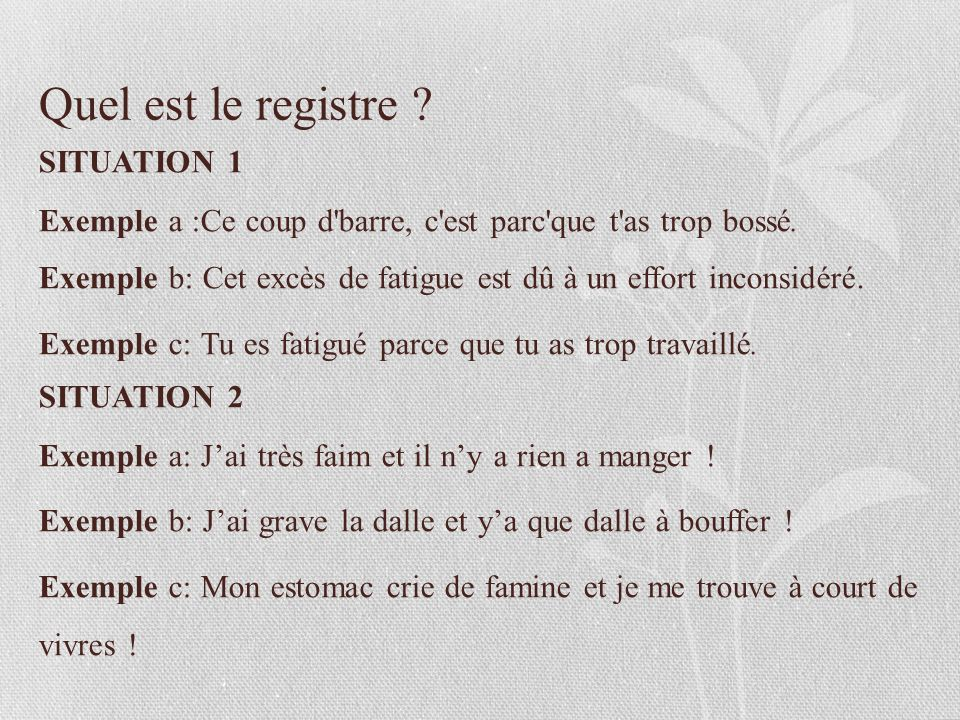 les registres de la langue fran aise ppt video online