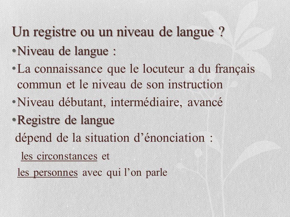 les registres de la langue fran u00e7aise