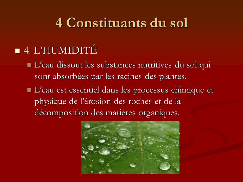 4 Constituants du sol 4. L'HUMIDITÉ