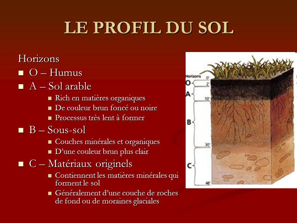 LE PROFIL DU SOL Horizons O – Humus A – Sol arable B – Sous-sol
