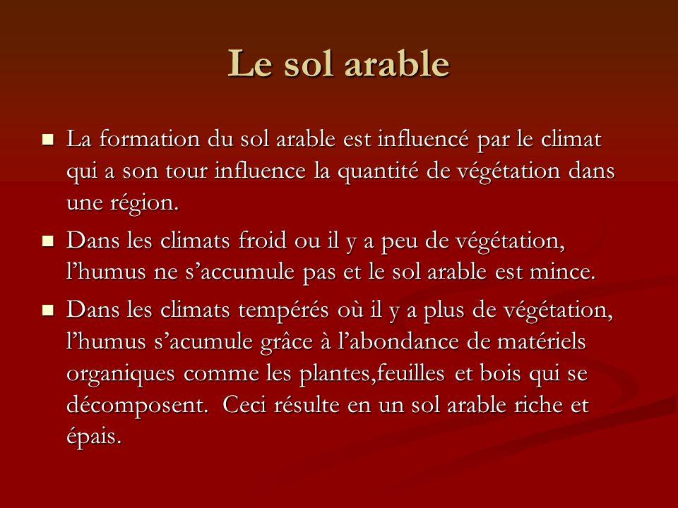 Le sol arable La formation du sol arable est influencé par le climat qui a son tour influence la quantité de végétation dans une région.