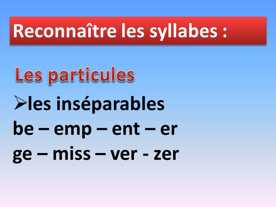 Reconnaître les syllabes :