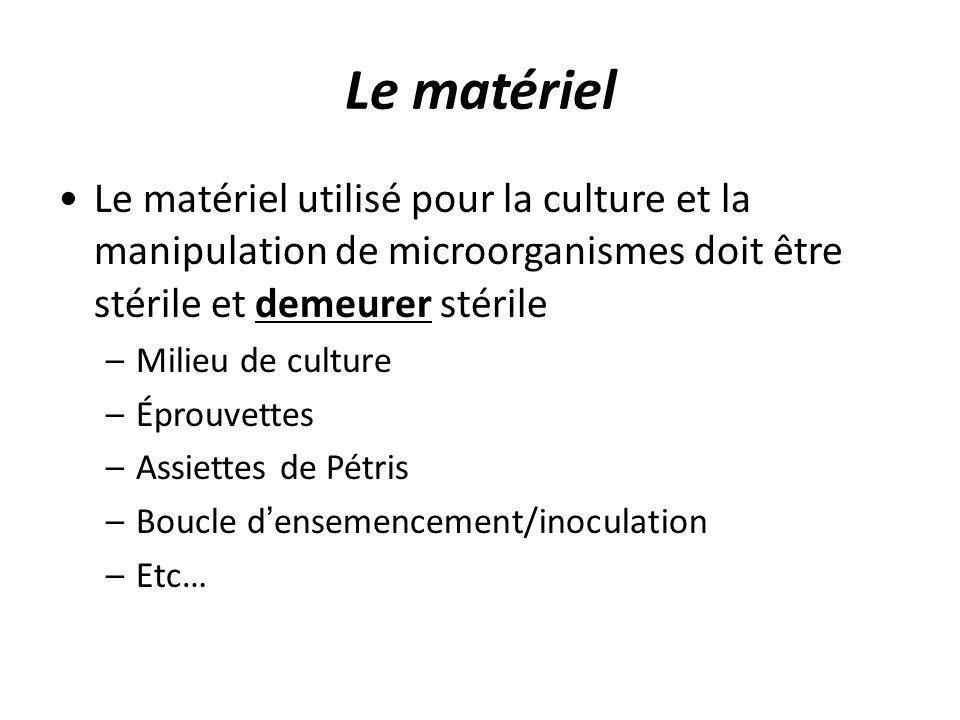 Le matériel Le matériel utilisé pour la culture et la manipulation de microorganismes doit être stérile et demeurer stérile.