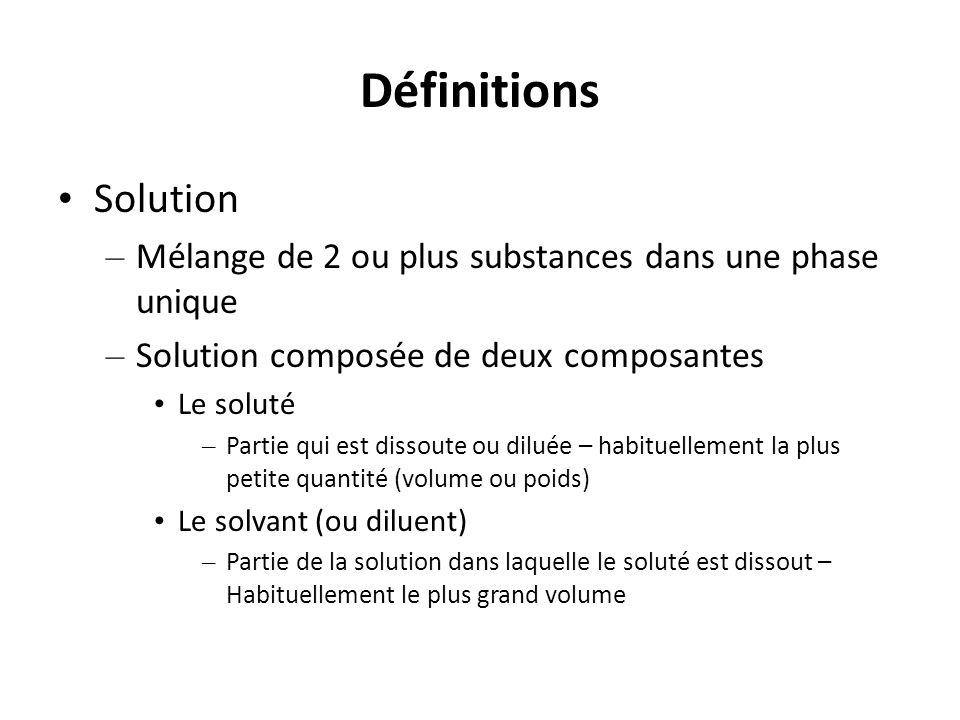 Définitions Solution. Mélange de 2 ou plus substances dans une phase unique. Solution composée de deux composantes.