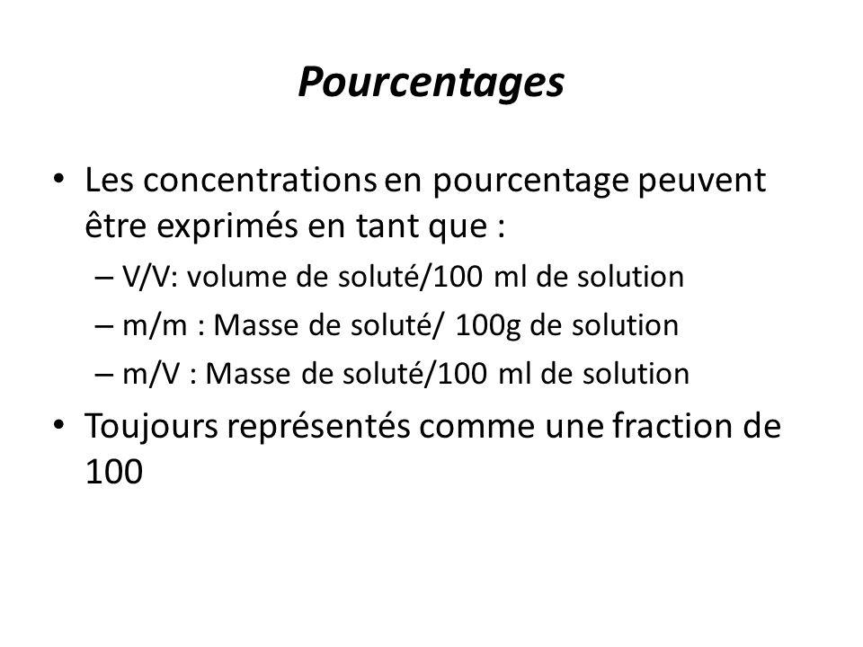 Pourcentages Les concentrations en pourcentage peuvent être exprimés en tant que : V/V: volume de soluté/100 ml de solution.