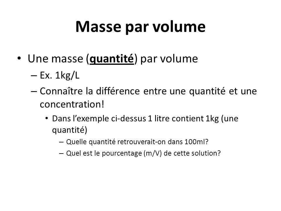 Masse par volume Une masse (quantité) par volume Ex. 1kg/L