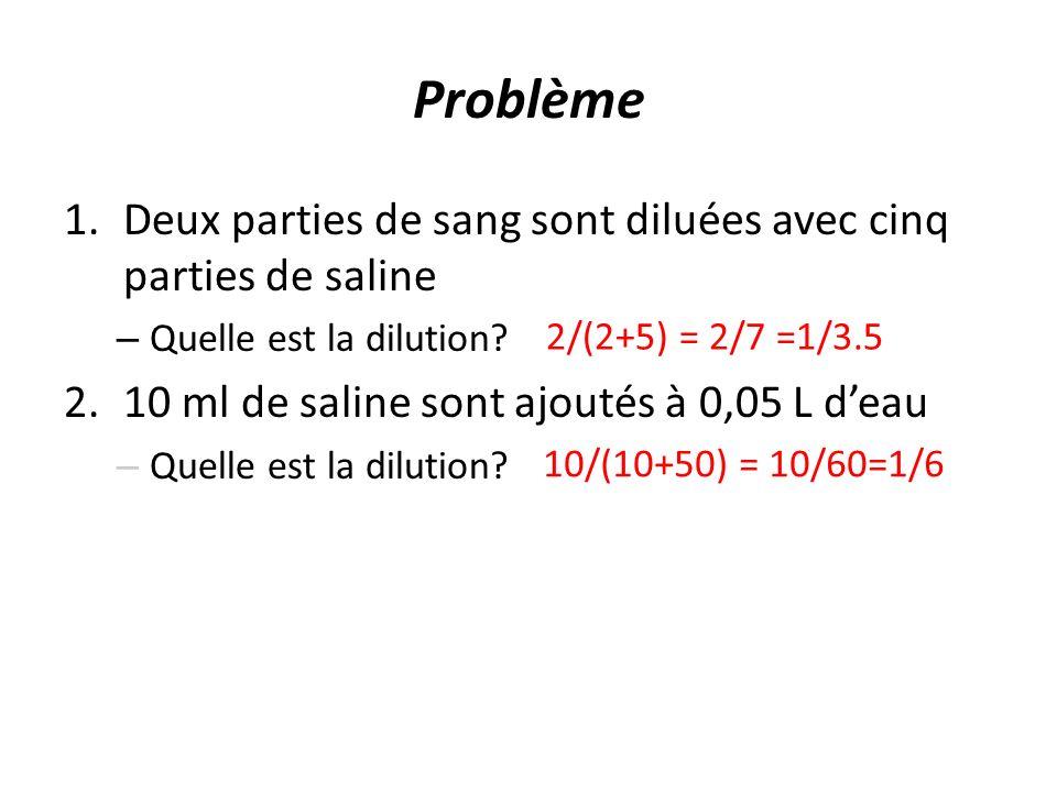 Problème Deux parties de sang sont diluées avec cinq parties de saline
