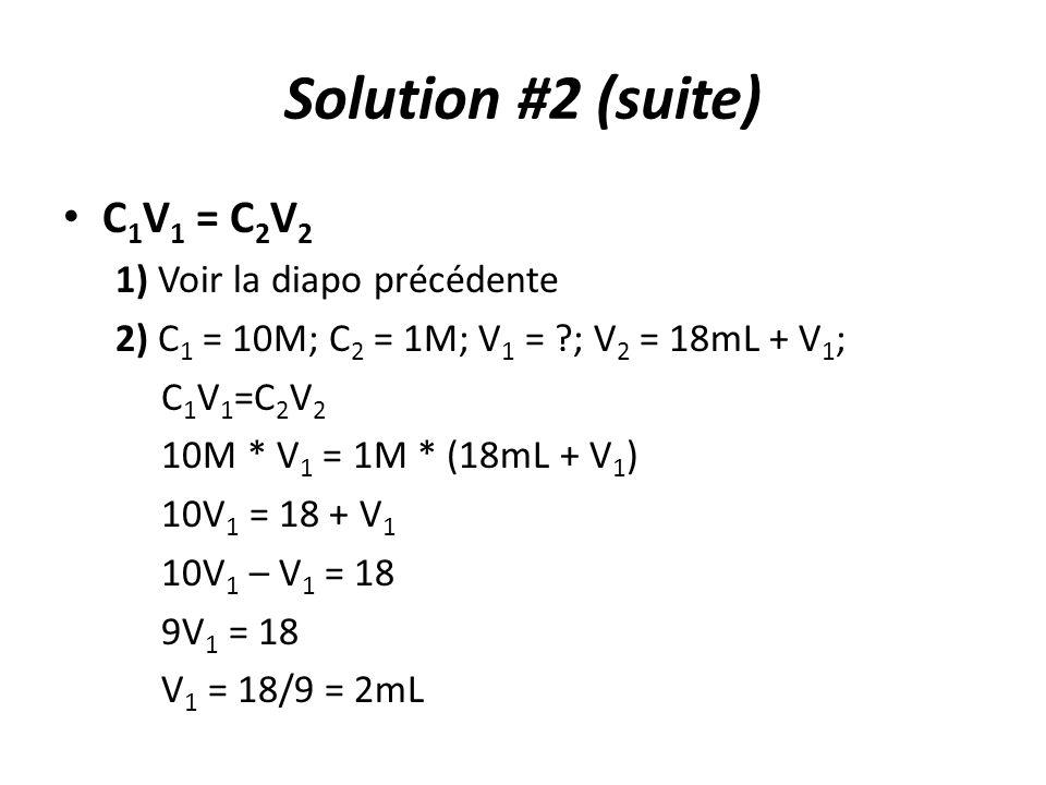 Solution #2 (suite) C1V1 = C2V2 1) Voir la diapo précédente