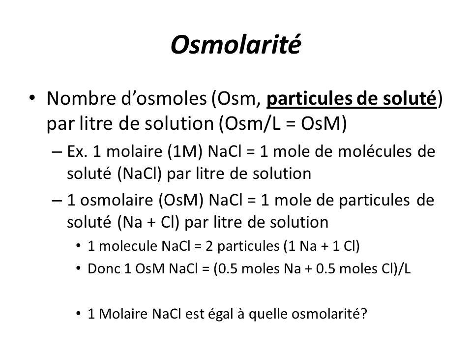 Osmolarité Nombre d'osmoles (Osm, particules de soluté) par litre de solution (Osm/L = OsM)