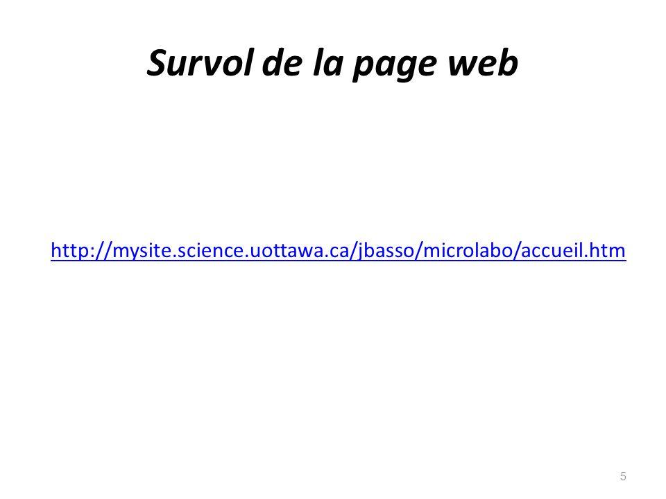Survol de la page web http://mysite.science.uottawa.ca/jbasso/microlabo/accueil.htm