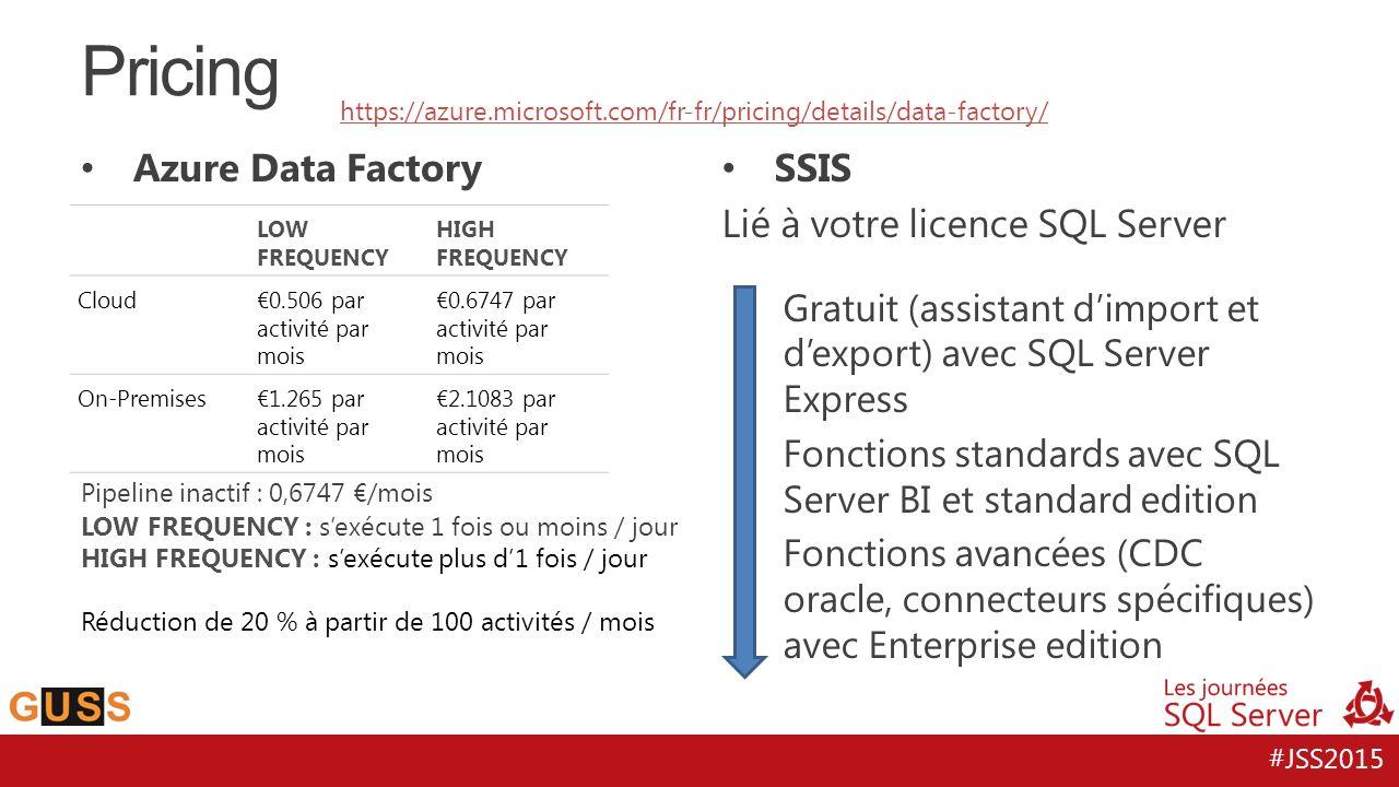 Pricing Azure Data Factory SSIS Lié à votre licence SQL Server