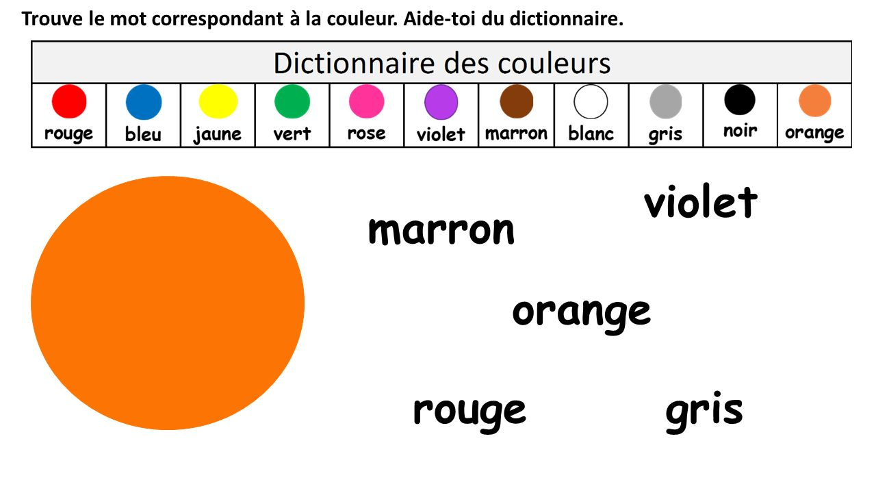 violet marron orange rouge gris