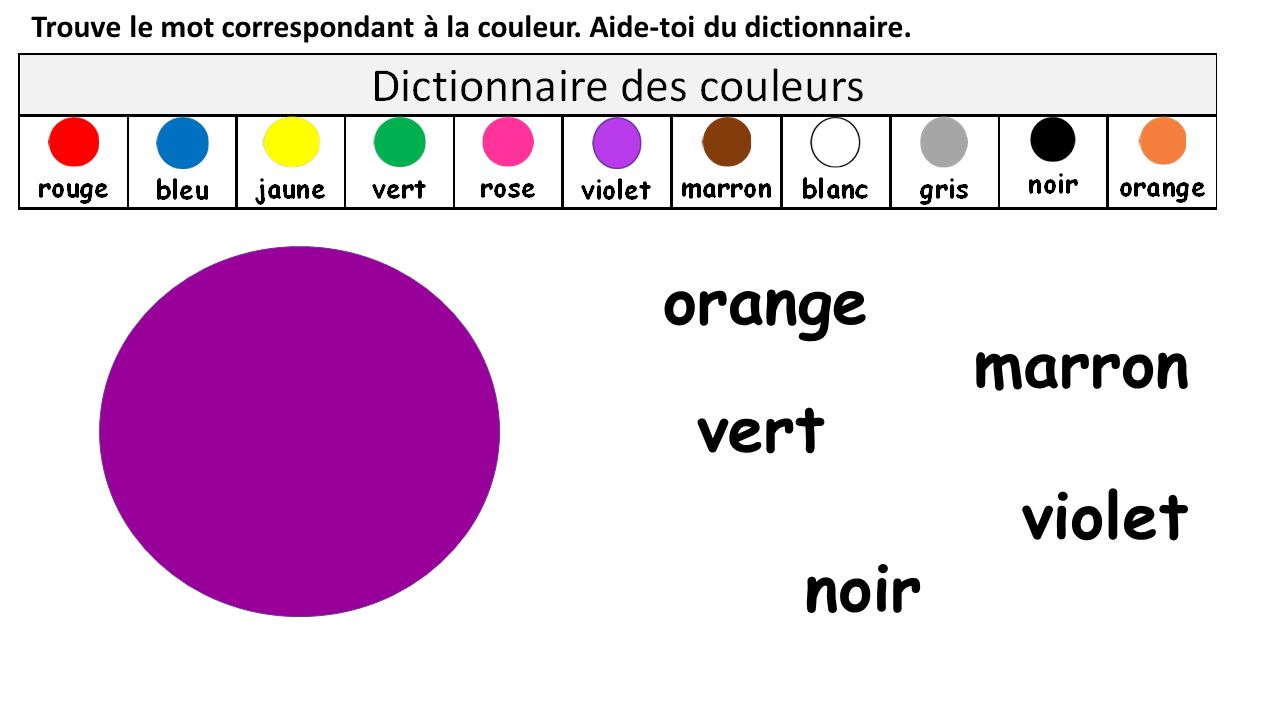 orange marron vert violet noir