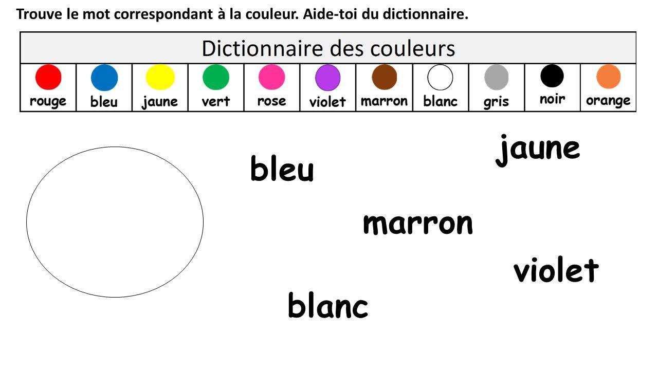 jaune bleu marron violet blanc