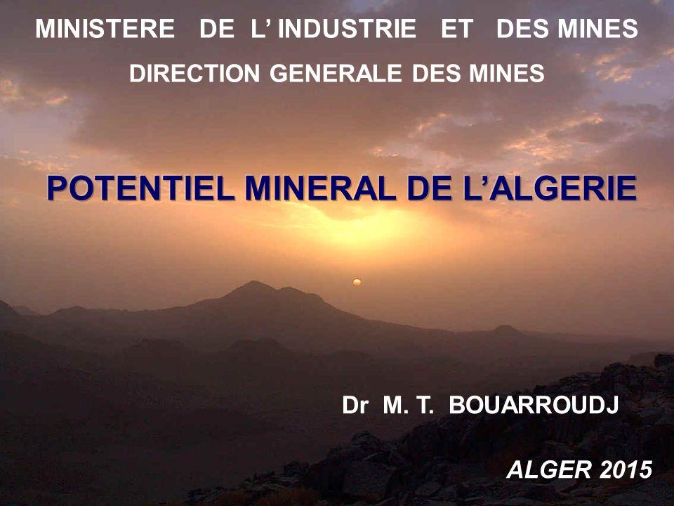 MINISTERE DE L' INDUSTRIE ET DES MINES DIRECTION GENERALE DES MINES