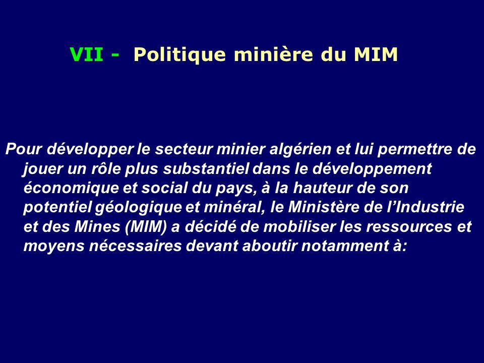 VII - Politique minière du MIM