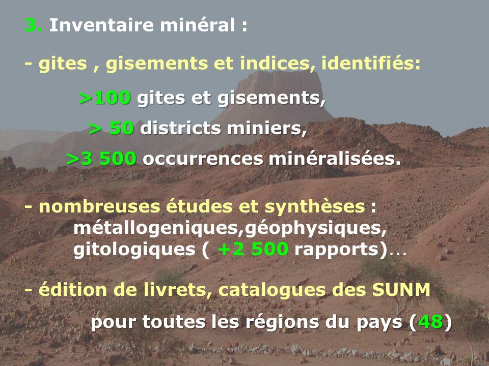 3. Inventaire minéral : - gites , gisements et indices, identifiés: >100 gites et gisements, > 50 districts miniers,