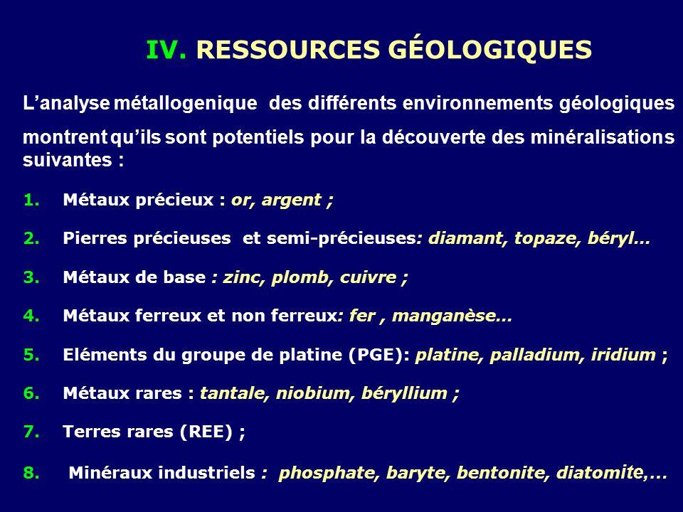 IV. RESSOURCES Géologiques
